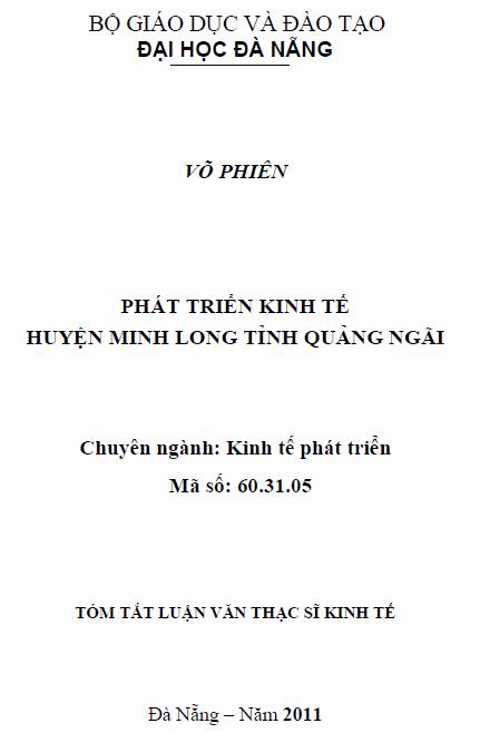 Phát triển kinh tế huyện Minh Long tỉnh Quảng Ngãi