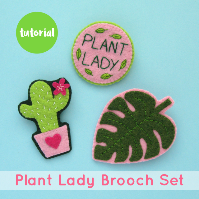 Tutorial: Embroidered Felt Plant Lady Brooches