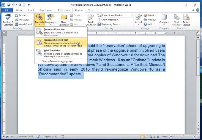 dịch tài liệu trong word