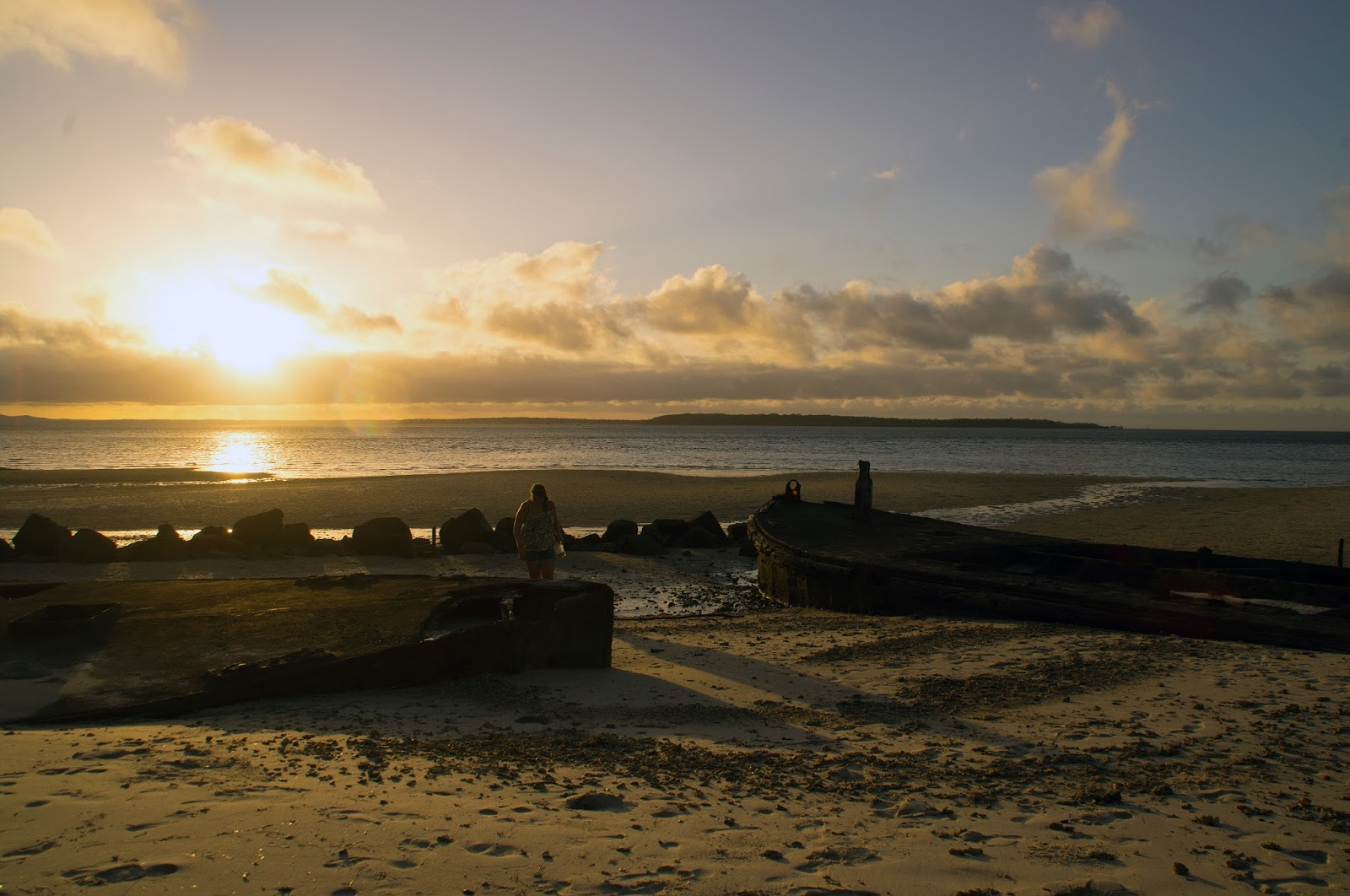 Shipwrecks at Dunwich on Stradbroke Island at Sunset