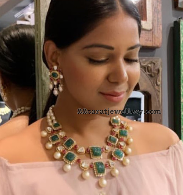 Model in Two Tier Diamond Emerald Necklace
