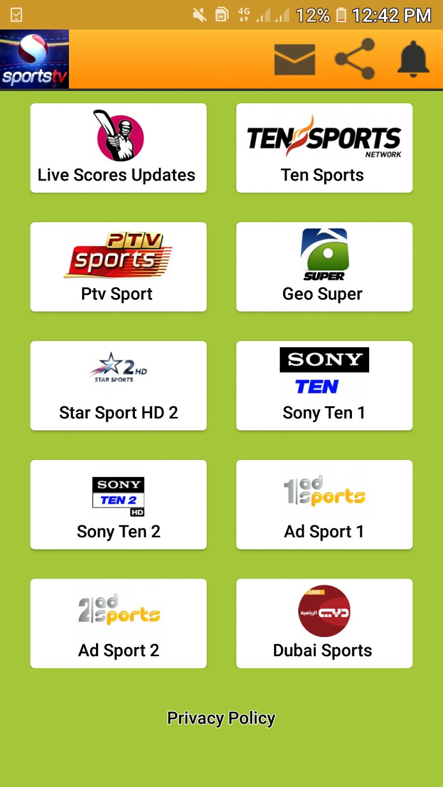 Sport For Android - Ad Sport Channel