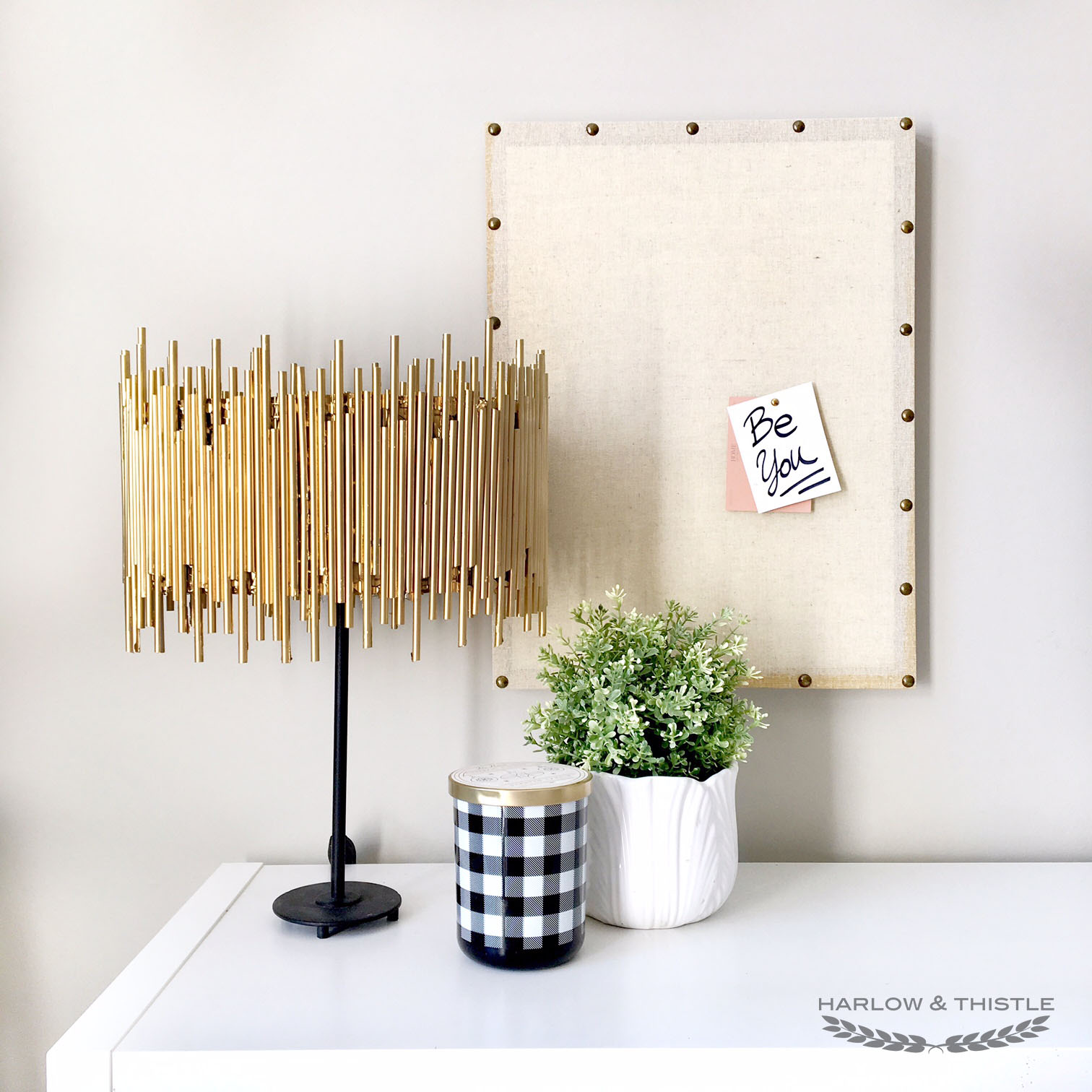 DIY Gold Lamp Shade