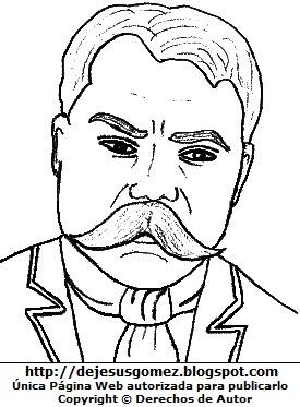 Dibujo Emiliano Zapata para niños colorear pintar imprimir recortar y pegar. Dibujo de Emiliano Zapata de Jesus Gómez