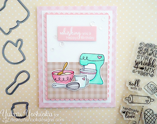 Baking Mixer Birthday Card by Yukari Yoshioka | Made from Scratch Stamp Set by Newton's Nook Designs #newtonsnook