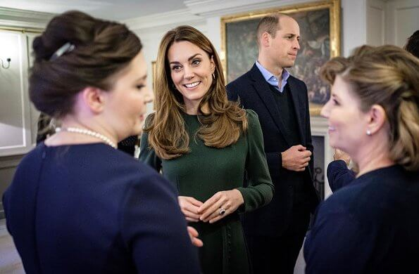 Kate Middleton wore Beulah London Yahvi midi dress. The Duchess of Cambridge wore a green midi dress by Beulah London