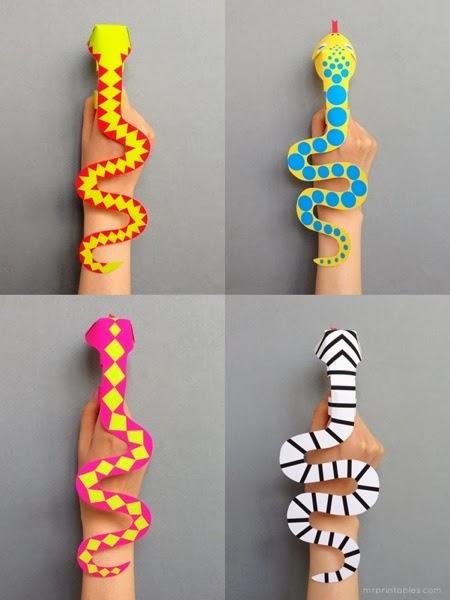 Cikgu eela il preschoolers pce snake finger template for Snake puppet template