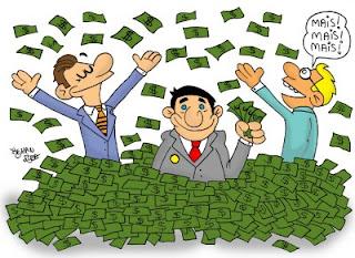 Figuras de hombres políticos tomando dinero