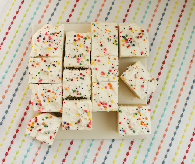 Food Lust People Love: When you are craving sugar cookies but can't be bothered with rolling out dough and using cookie cutters, make frosted sugar cookie bars instead! They are super simple and are as pretty as they are tasty.
