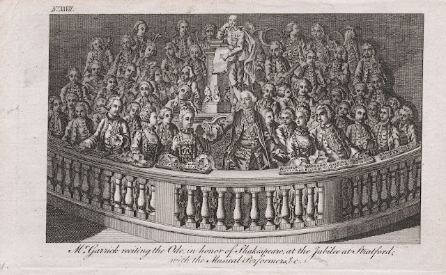 Mr Garrick reciting the Ode in honour of Shakespeare at the Jubilee at Stratford [London, 1769]. From the collections of the Lewis Walpole Library,