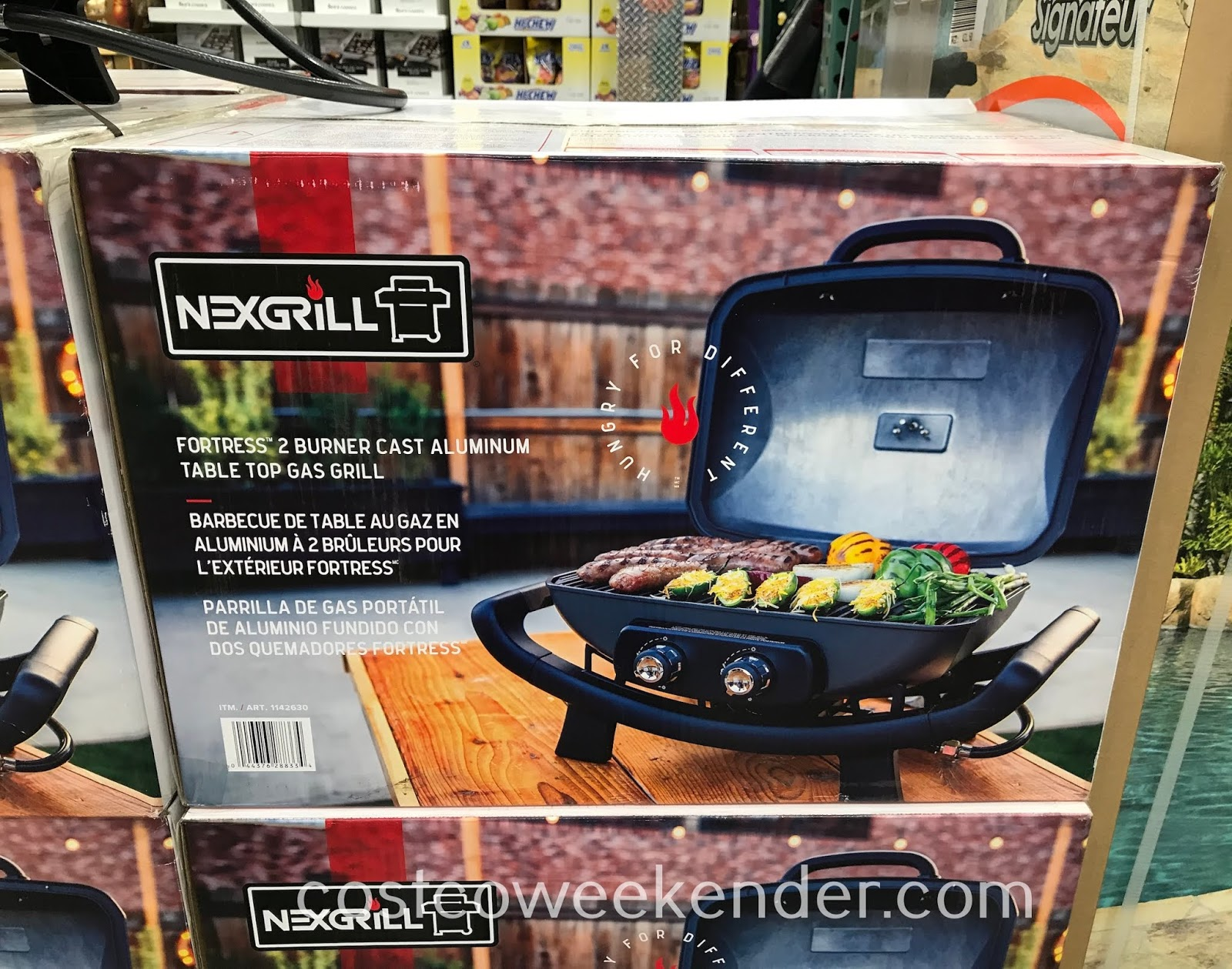 Costco 1142630 - Nexgrill Fortress Cast Aluminum Table Top Gas Grill can be used in your backyard or can be taken on the go