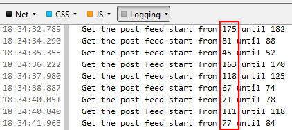 Showing log message to indicate random number for feed start index purpose
