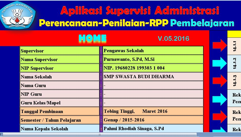 Download Program Supervisi Administrasi Guru Tahun Ajaran 2016-2017 Format Microsoft Excel