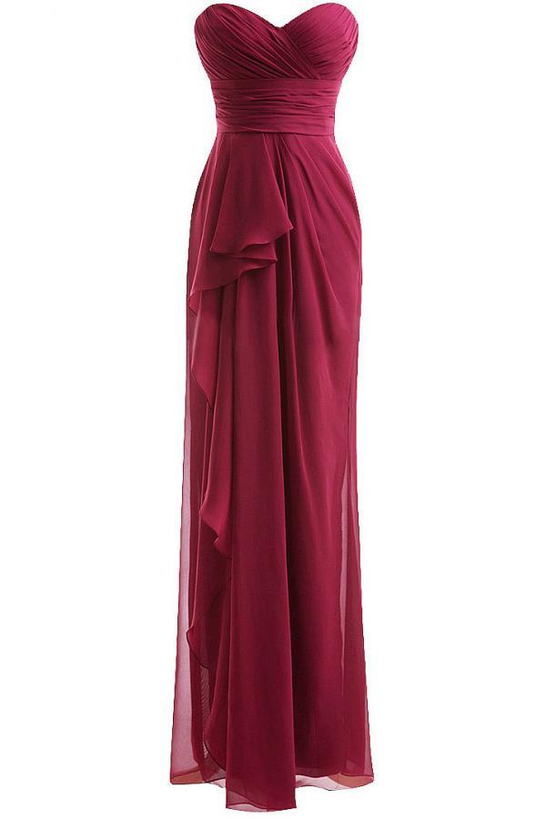 Strapless frills maxi bridesmaid dress