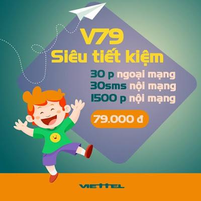 Đăng ký gói cước V79 Viettel 79.000đ tặng 1500 phút thoại