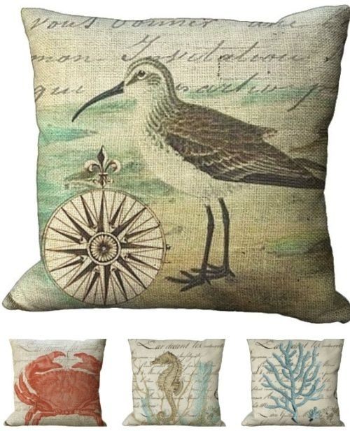 Coastal graphic art illustration print burlap pillow covers