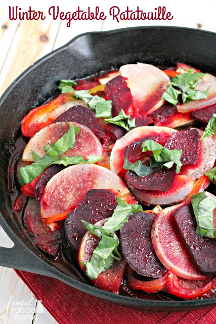 A classic French dish gets a hearty wintertime makeover with the addition of beets & turnips in this easy to make Winter Vegetable Ratatouille.