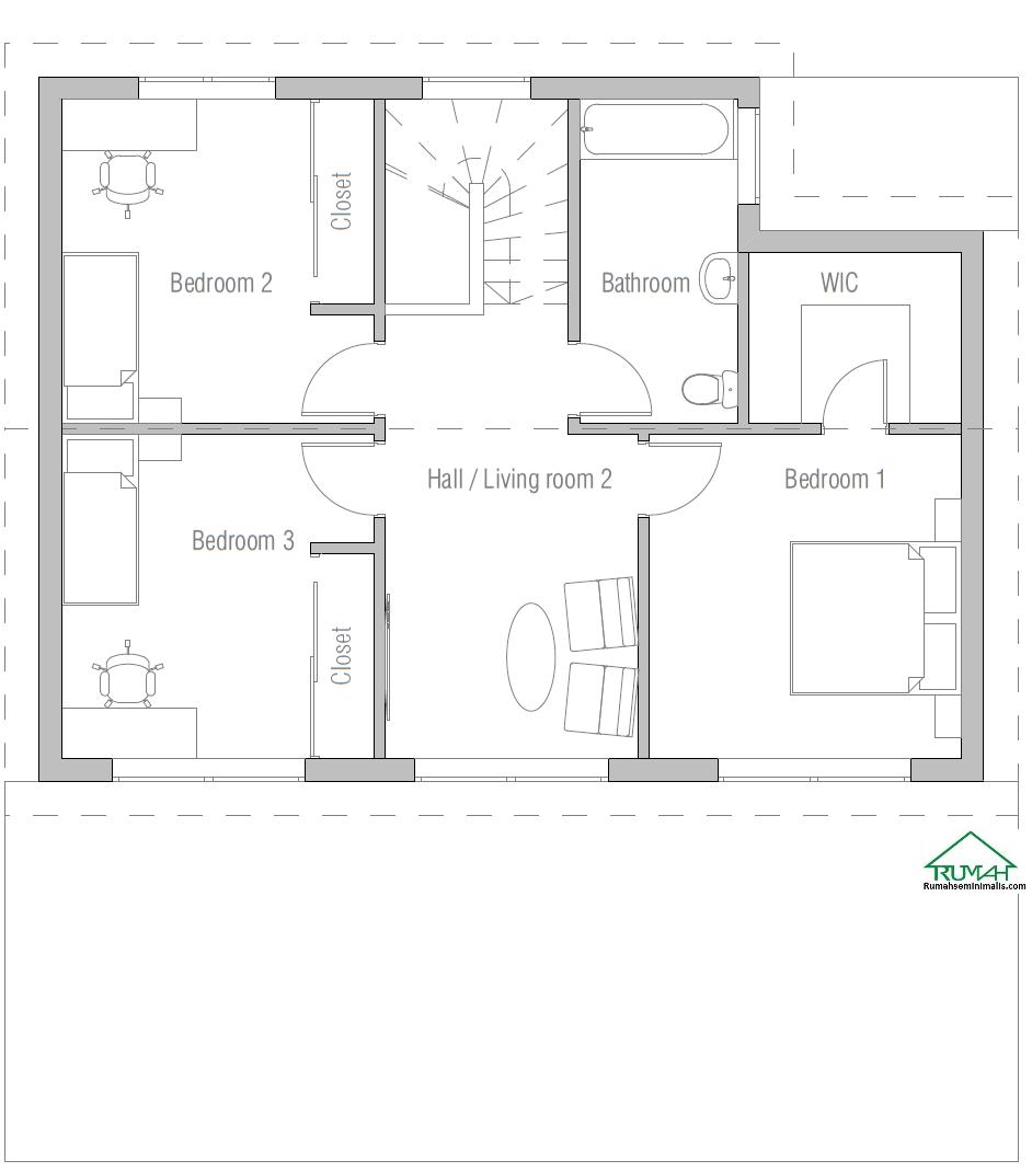 Denah Model Desain Gambar Rumah Minimalis Idaman Modern Tipe 408