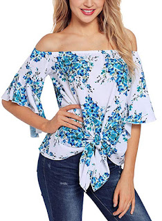 d96d8c43e59 New Releases Asvivid Women s Striped Off Shoulder Bell Sleeve Shirt Tie  Knot Casual Blouses Tops
