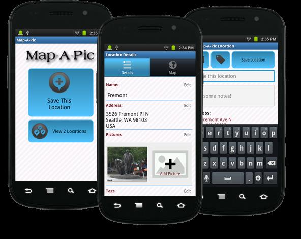 Schermate dell'applicazione per Andorid Map-A-Pic