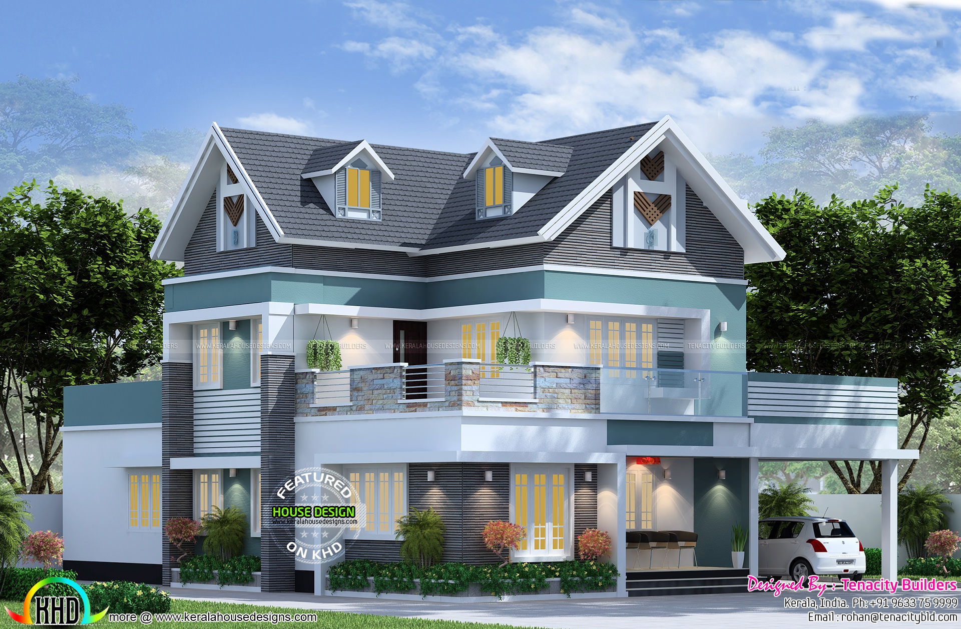 Western model home plan by tenacity builders kerala home for Western house design