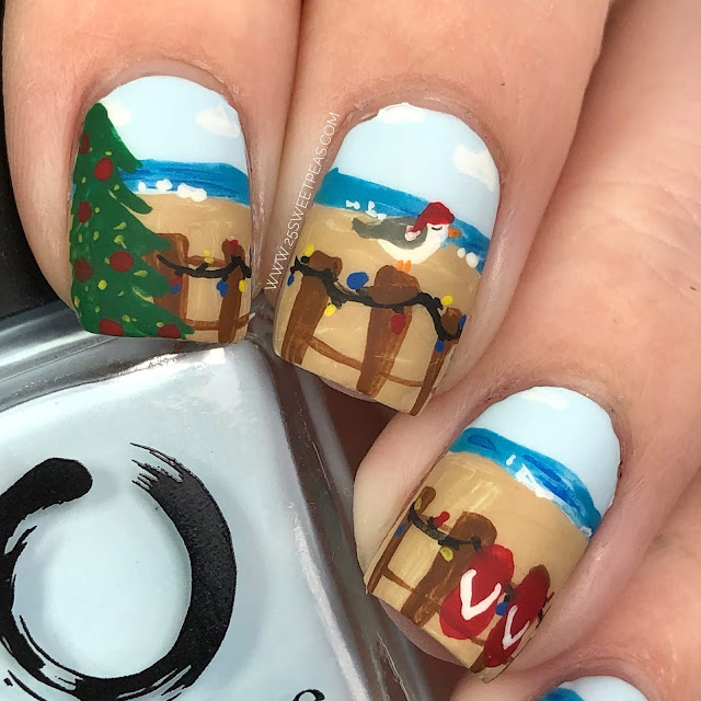 Christmas Beach Nail Art