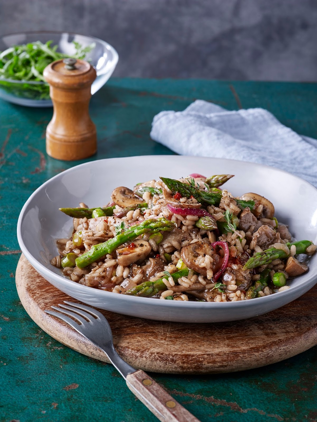 Balsamic Asparagus And Mushroom Risotto