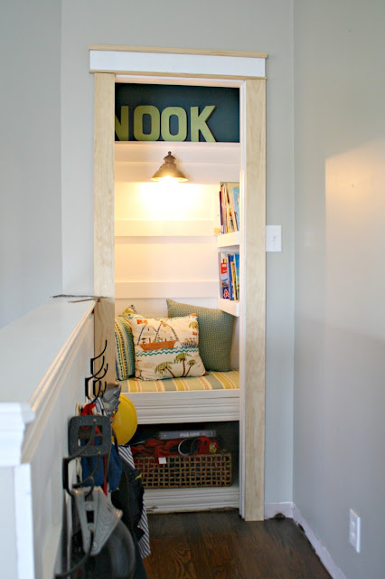 DIY book nook from a closet