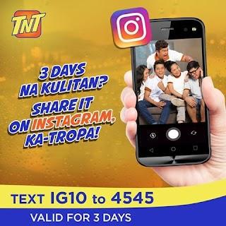 Talk N Text (TNT) Instagram IG10 Promo – 10 Pesos for 3 days