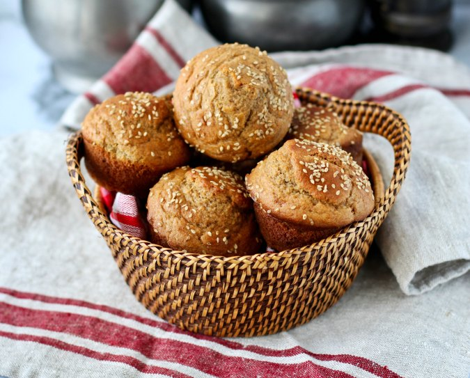 Whole Wheat Dinner Roll Muffins in a basket