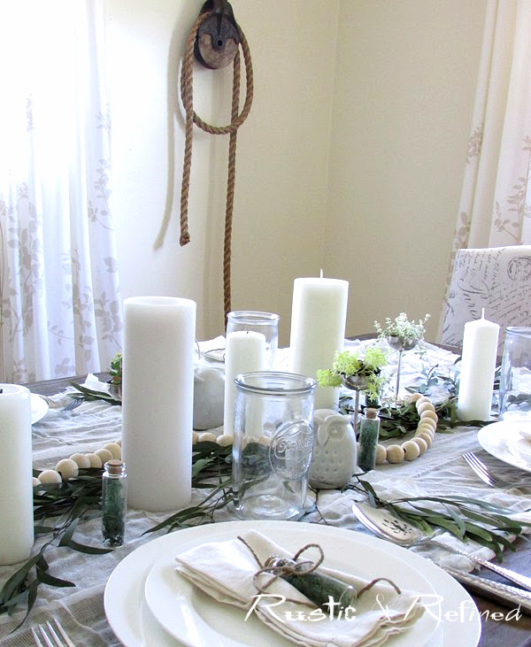 Rustic tablescape for summer using white dishes