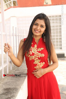 Telugu Actress Priyanka Jain Stills in Red Dress at Amazing Arts Production no 1 Movie Opening  0014.JPG