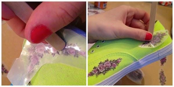 Tênis customizado com tinta e adesivo