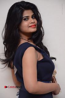 Telugu Actress Alekhya Stills in Blue Long Dress at Plus One ( 1) Audio Launch  0043.jpg