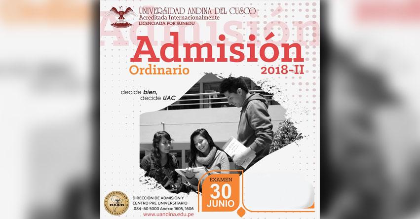 Resultados UAC 2018-2 (30 Junio) Lista de Ingresantes Examen Admisión Ordinario - Universidad Andina del Cusco - UANDINA - www.uandina.edu.pe