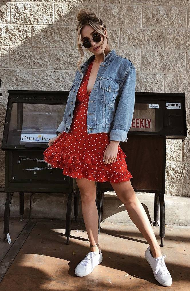 how to wear a denim jacket : red polka dots dress and sneakers