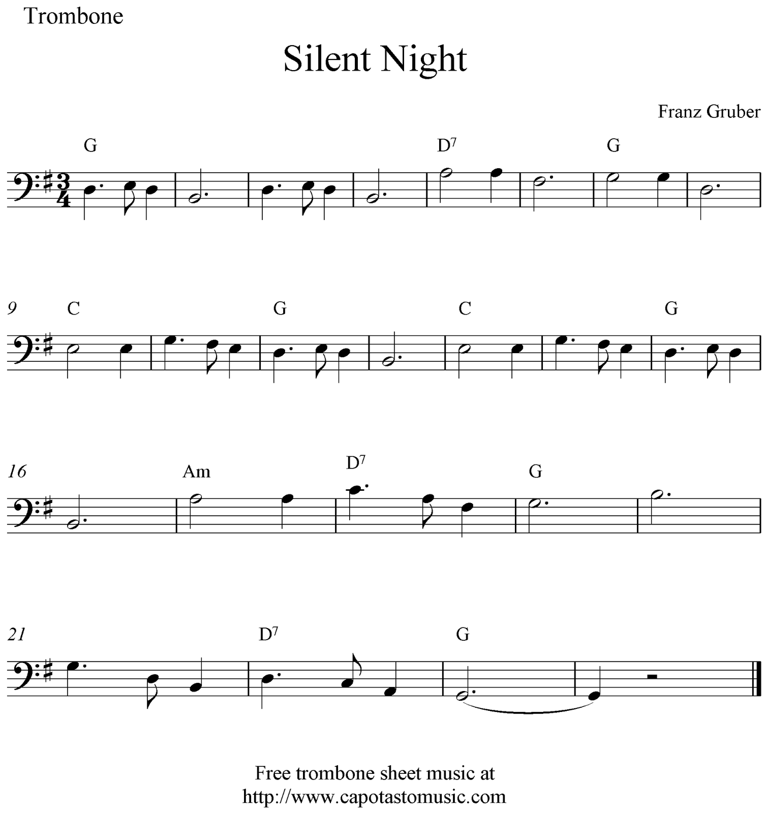 picture regarding Free Printable Trombone Sheet Music named Tranquil Night time, free of charge Xmas trombone sheet audio notes