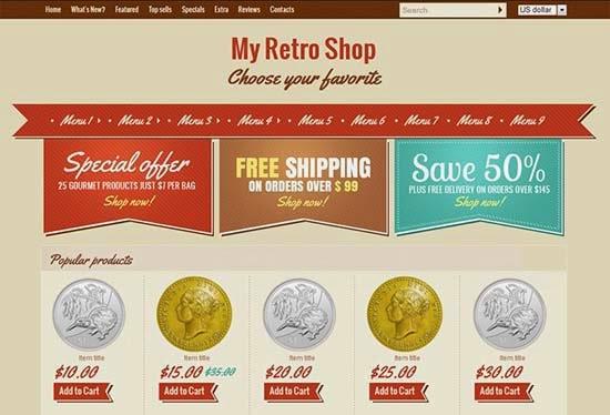 Retro shop – single page layout for your e-shop.