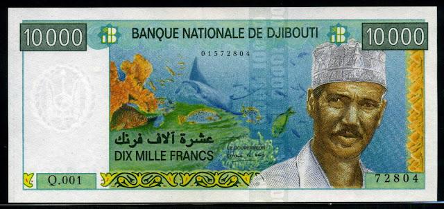 money currency Djibouti 10000 francs Djiboutian franc banknote
