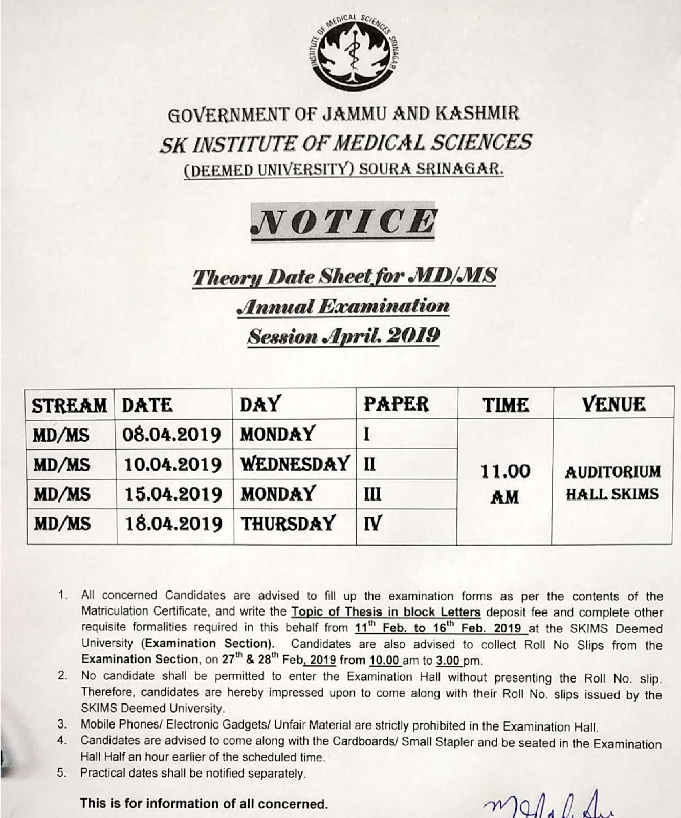 The Theory Date Sheet for MD  MS Annual Examination, Session April 2019