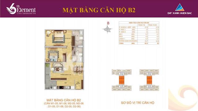 Mặt bằng căn hộ b2 chung cư 6th element
