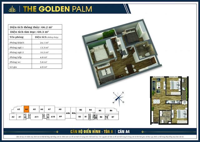 Mặt bằng căn A4 tòa A chung cư The Golden Palm