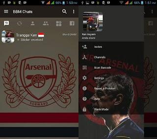 BBM MOD Transparan Tema Arsenal v3.2.0.6 APK Terbaru
