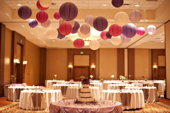 Details what should i do to the ceiling at my wedding for Hanging pom poms from ceiling