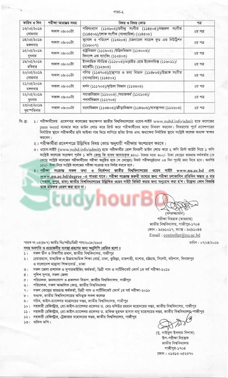 Degree 1st year changed routine 2019 part2