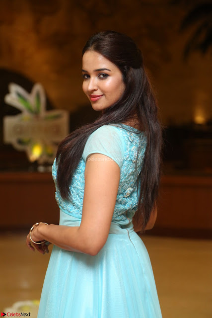 Pujita Ponnada in transparent sky blue dress at Darshakudu pre release ~  Exclusive Celebrities Galleries 001.JPG
