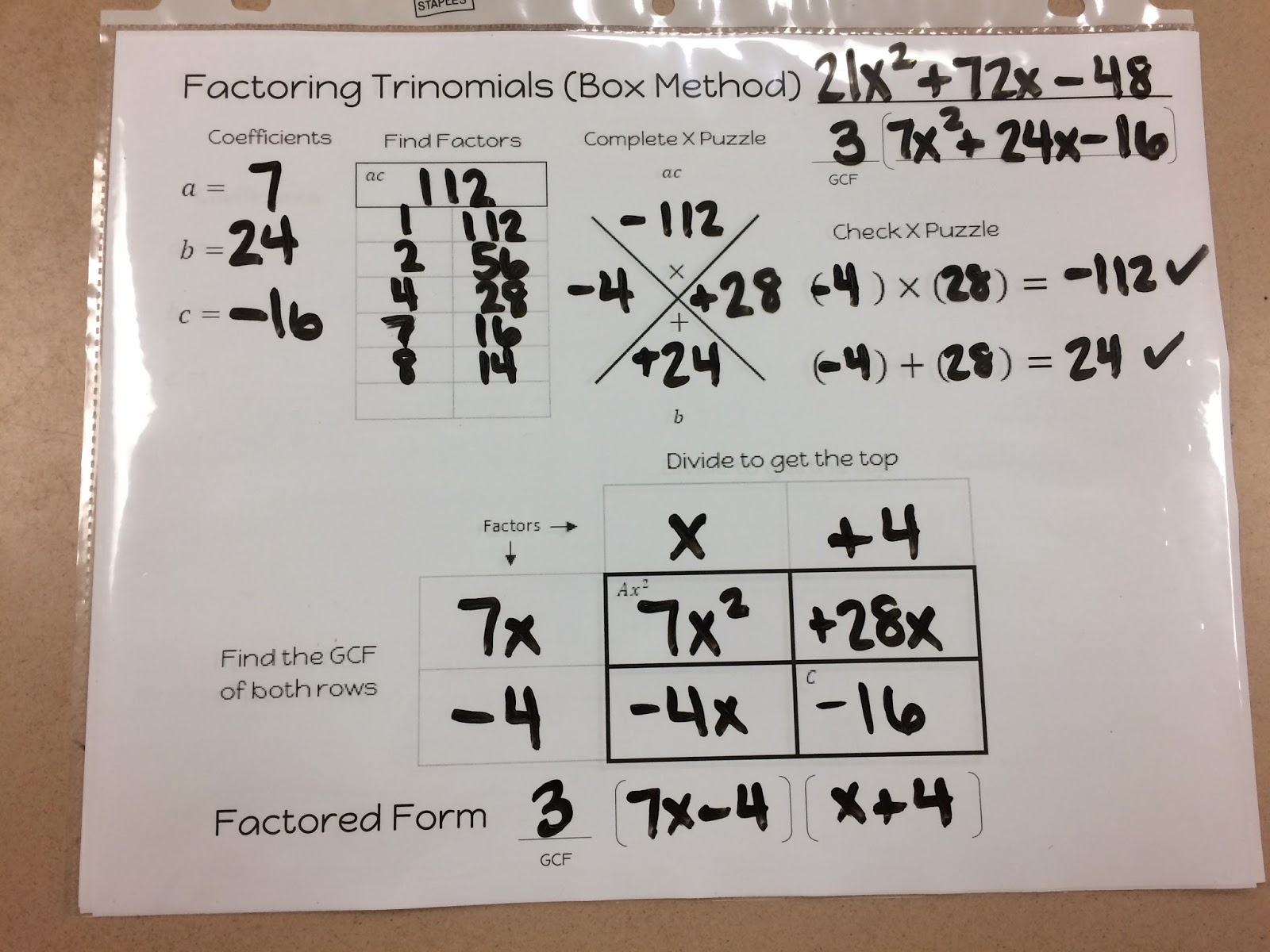 Solving Quadratic Equations By Factoring Using Box Method