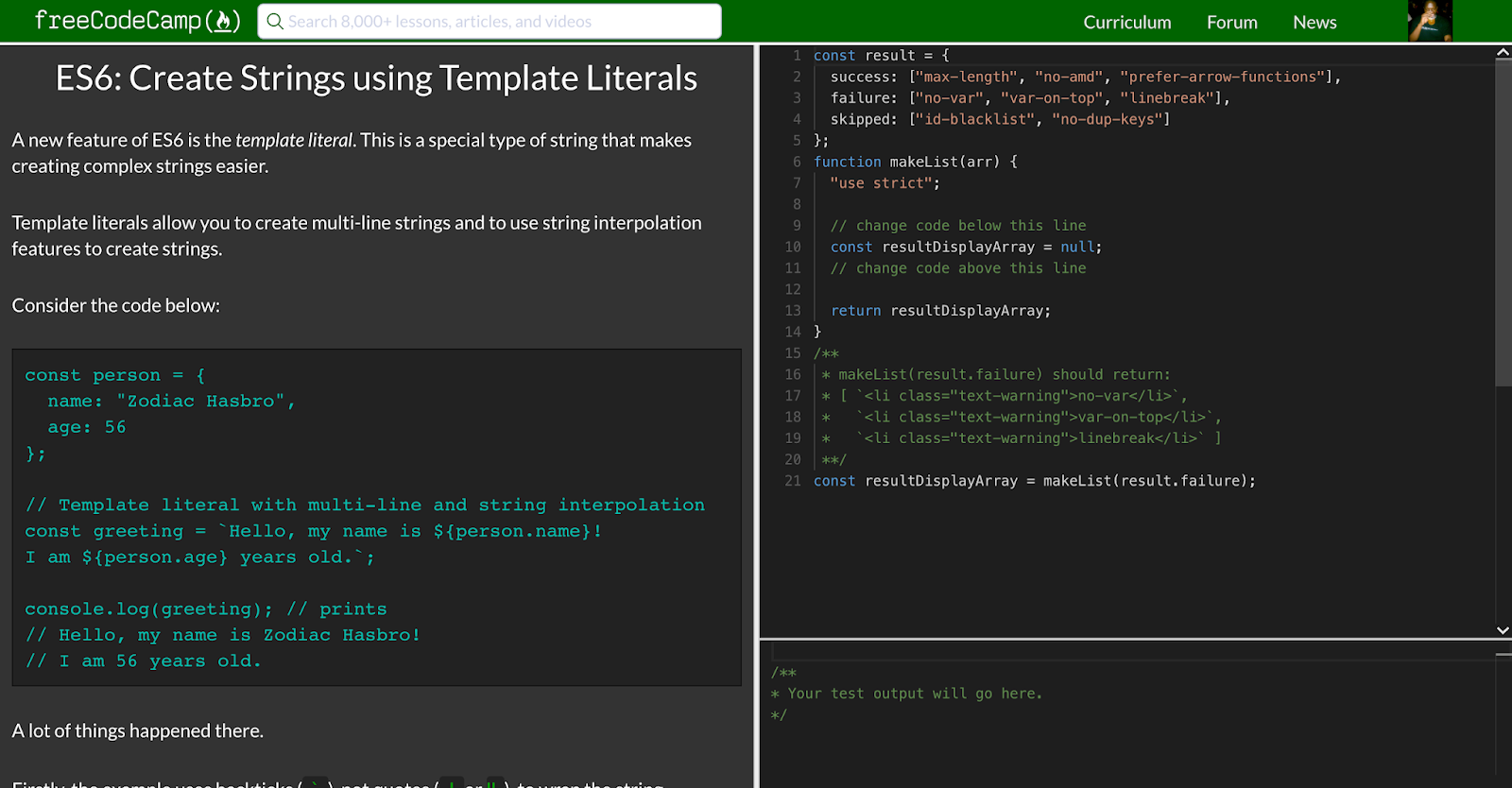 use template literal syntax with backticks to display each entry of the result objects failure array each entry should be wrapped inside an li element