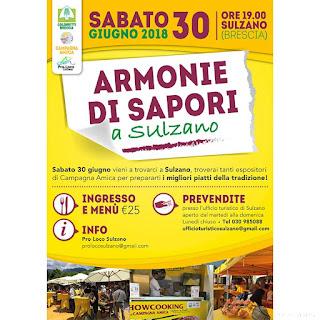 Armonie di Sapori, cena itinerante 30 giugno Sulzano (BS)