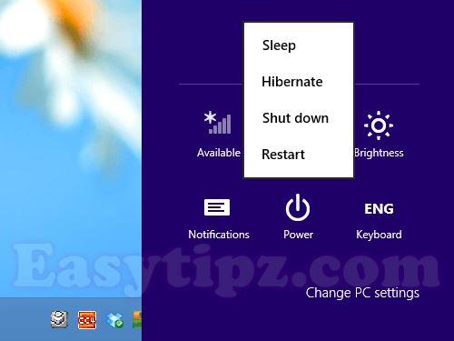 Hibernate button will display on Power menu beside Sleep, Shutdown, and Restart button